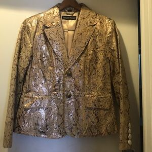 Pamela McCoy snake print leather jacket.